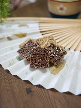 Korean traditional snacks Sweet Rice Puffs, Gangjeong Stock Photo