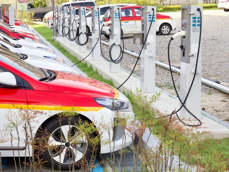 Electric car charging station in Korea Banque d'images