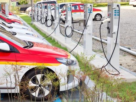 Electric car charging station in Korea Foto de archivo