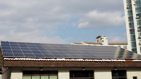 Korea, solar panel, house roof, winter, snow