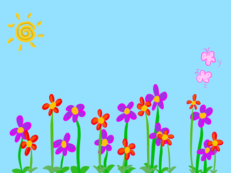 Flower, flower bed, empty place, butterfly, Sun, Illustration, blue, background, spring.