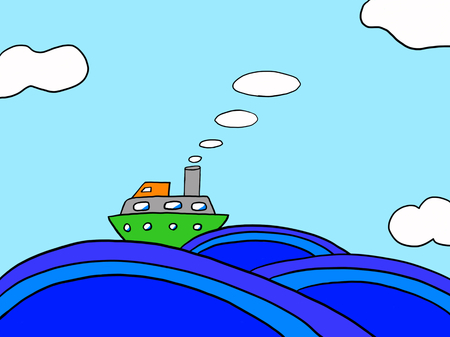 Sea, waves, clouds, blue, illustration, sky, summer, cruise ship.