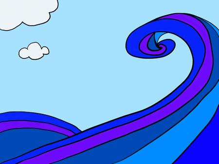 바다, 파도, 구름, 푸른, 그림, 하늘, 여름. 일러스트