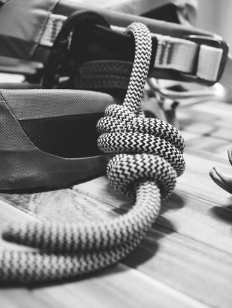 Rook Climbing Safety Equipment, Black and white photo Stock Photo