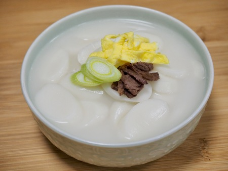 Korean food rice cake soup, tteokguk, Sliced ??Rice Cake Soup Stock Photo