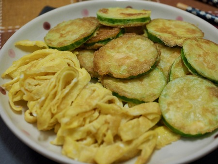 Korean food Pumpkin Pancake, hobak jeon