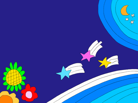 Blue background with flowers and stars and moon