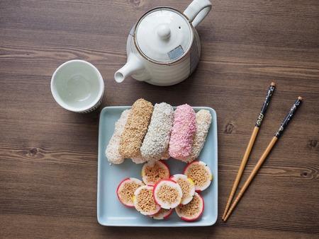 Korean traditional cookie yugwa, Hangwa Фото со стока