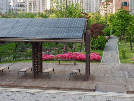 Rest facilities equipped with solar panels, Korea Cheongju City