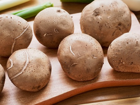 Fresh shiitake mushrooms and vegetables