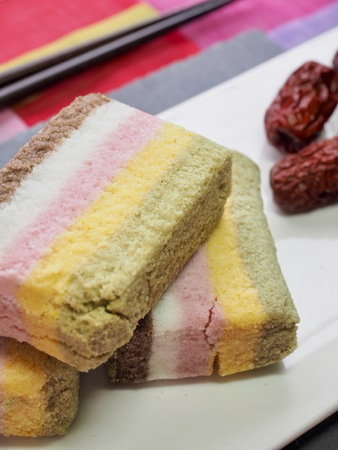 Korean food rainbow rice cake and jujube Фото со стока