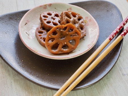 Korean food Simmered soy sauce Lotus root 写真素材