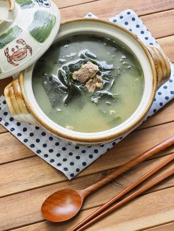 Korean food beef seaweed soup