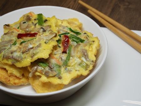 Korean style Egg mushroom pancakes 版權商用圖片