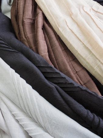 Black, brown, beige, gray autumn scarf 写真素材
