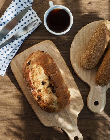 Whole-wheat bread baked in the oven and coffee