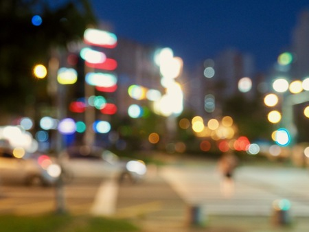 City center night street bokeh, missed focus Stockfoto