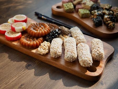 Korean traditional sweets and cookies, Yaksik, Gangjeong, puffed rice, candy, yugwa Stock Photo