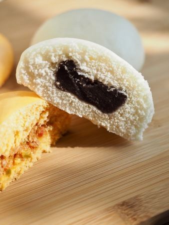 Asian food Steamed bun, steamed bun with red bean paste filling and pizza Steamed bun