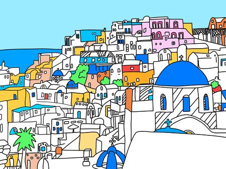 Griechenland Santorini Insel Illustration