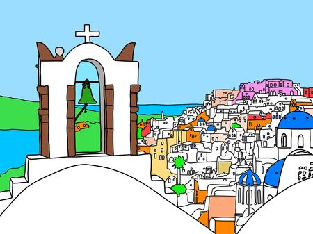 Greece Santorini Island Illustration