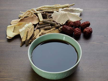 Asian traditional medicine herbal medicine, Chinese medicine Stockfoto