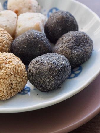 Asian food Sesame glutinous rice cake, Black sesame glutinous rice cake and rice ball cake