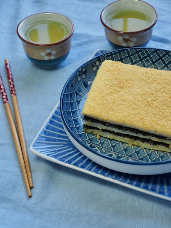Korean traditional food yellow steamed rice cake