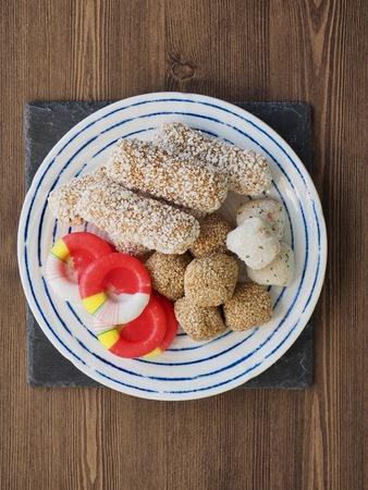 Korean traditional sweets and cookies, candy, yugwa, Sesame glutinous rice cake