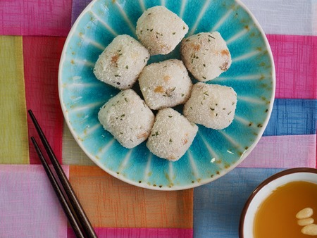 Asian food gyeongdan, rice ball cake and Sweet pumpkin sikhye