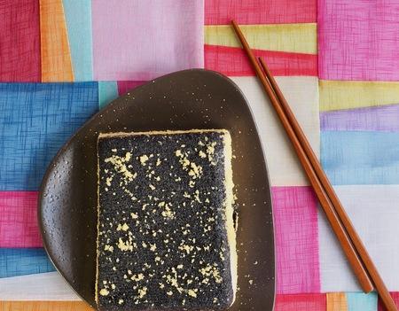 Korean food Black sesame powdered soybean glutinous rice cake