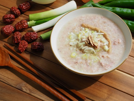 Korean food Chicken Rice Porridge and vegetable, min juk Stock Photo