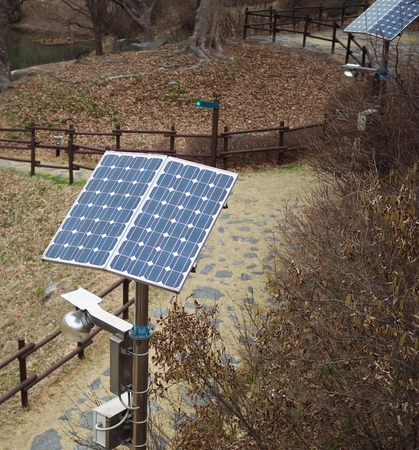 Street light with solar panel installed in Korea