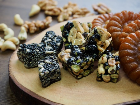 Korean traditional sweets and cookies and Nuts Mix, gangjeong, Yakgwa, Honey Cookie