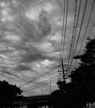 Korea Cheongju City, Telephone pole, sky and clouds, Black and white photo Banque d'images