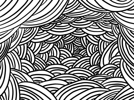 Various colors and curved backgrounds, Line art  イラスト・ベクター素材