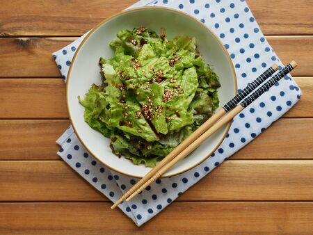 Korean food Lettuce with soy sauce, Korean salad Stock Photo