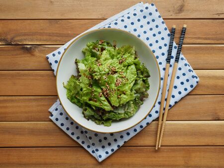 Korean food Lettuce with soy sauce, Korean salad Stock Photo