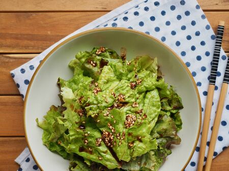Korean food Lettuce with soy sauce, Korean salad Imagens - 124908336