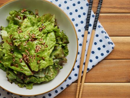Korean food Lettuce with soy sauce, Korean salad Imagens