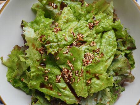 Korean food Lettuce with soy sauce, Korean salad Imagens - 124908341