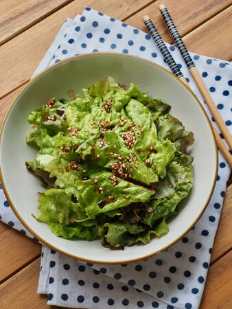 Korean food Lettuce with soy sauce, Korean salad Imagens - 124908347