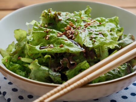 Korean food Lettuce with soy sauce, Korean salad Imagens - 124908359
