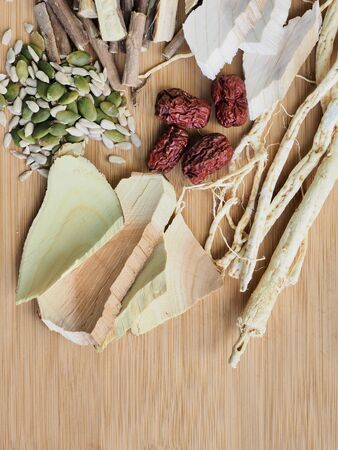 Korean food samgyetang, chicken soup with ginseng, Food Ingredients