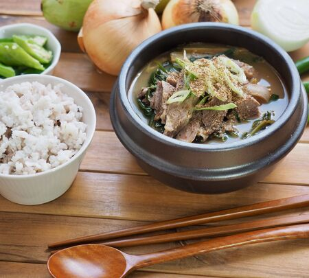 Korean food Goat soup and Rice and vegetables 免版税图像