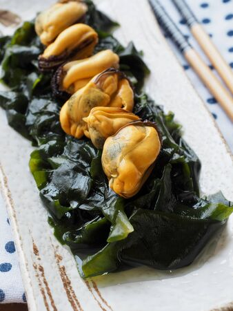 Asian food seaweed and mussels