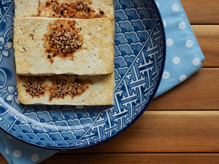 Asian food grilled tofu and soy sauce