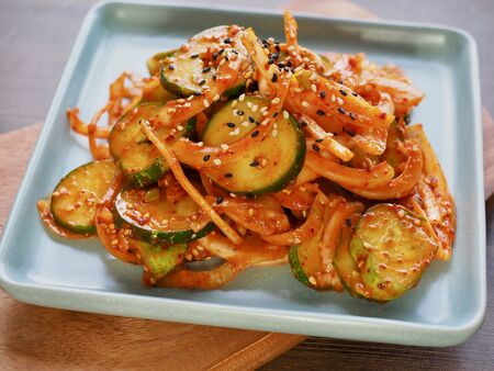 Korean food cucumber vegetables, Cucumber salad with vegetables Stock Photo