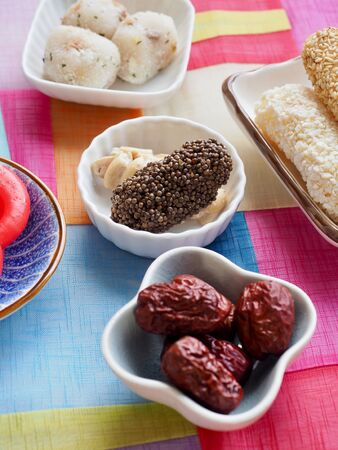 Korean traditional sweets and cookies,, yugwa, glutinous rice cake, gangjeong, Jujube, candy, rice cake