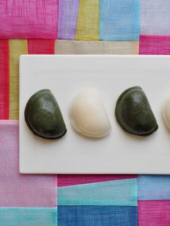 Korean food Songpyeon, half-moon-shaped rice cake, Wind tteok